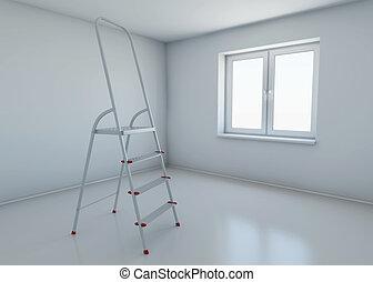 地位, 部屋, furniture., 中央, レンダリング, なしで, 段ばしご, (どれ・何・誰)も, 3d