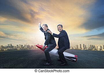 地位, 都市, おもちゃ, ユーモア, ロケット, ビジネス, 子供, 2, 現場, 概念, 背景, 乗馬, ...