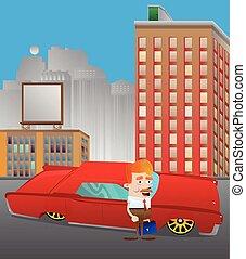 地位, 都市, 自動車, 前部, ビジネスマン, 赤