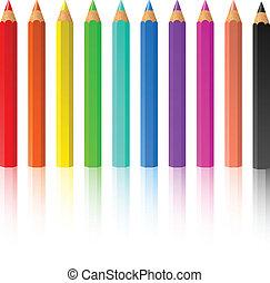 地位, 鉛筆, 色, 横列