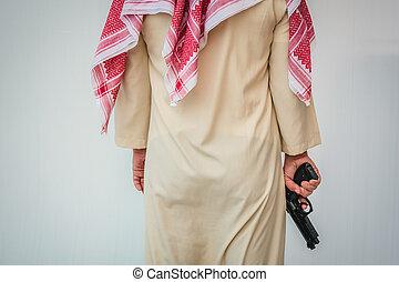 地位, 銃, 手, アラビア人, 保有物, 人