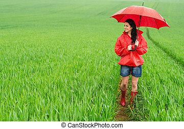 地位, 雨, 女, 若い, 微笑, 日