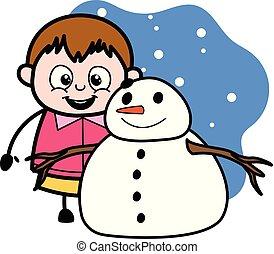 地位, 雪だるま, 男の子, -, 脂肪, ベクトル, イラスト, 漫画, ティーネージャー