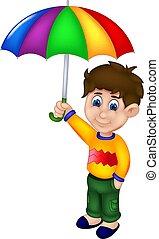 地位, 面白い, 傘, 男の子, 下に, 微笑, 漫画