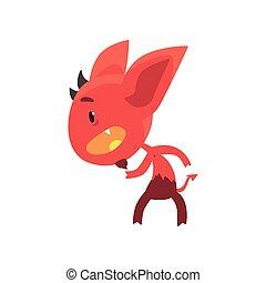 地位, 面白い, 小悪魔, 脅すこと, 大きい, ポーズを取りなさい, 特徴, 隔離された, 悪, 尾, white., 架空である, 角, 赤, 耳