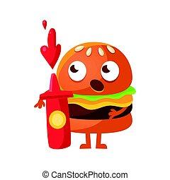 地位, 面白い, 目, びん, かわいい, ketchup., 大きい, 特徴, イラスト, 漫画, 食物, ベクトル, 速い, 保有物, バーガー, 赤, emoji