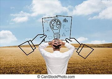 地位, 頭, 合成の イメージ, 背中, カメラ, 手, ビジネスマン