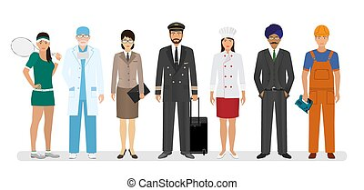 地位, 7, グループ, pilot., 人々, 一緒に, 労働者, スポーツマン, シェフ, 特徴, 従業員