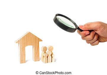 地位, affordable, 概念, 家族, 購入, 木製である, 継続, ハウジング, 家族, house., 若い, 拡大する, 見る ガラス, family., 強い, ローン, 子供