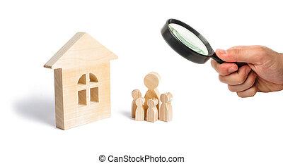 地位, affordable, 概念, 家族, housing., 木製である, 継続, 家族, house., 若い, 拡大する, 見る ガラス, 購入, family., 強い, ローン, 子供