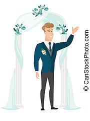 地位, arch., 結婚式, 花婿, 下に, 幸せ
