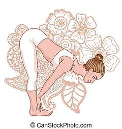 地位, ardha, ヨガ, pose., silhouette., uttanasana, 曲がり, 半分, 前方へ, 女性