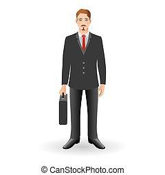 地位, briefcase., 若い, 保有物, ビジネスマン, 肖像画, 幸せに微笑する, ∥あるいは∥, 人