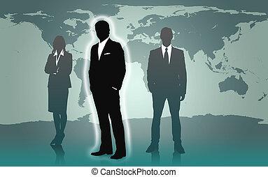 地位, businesspeople, 世界地図, に対して