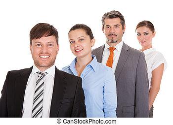 地位, businesspeople, 横列