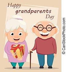 地位, card., 祖父母, 挨拶, 一緒に, 祖父, 祖母, 日