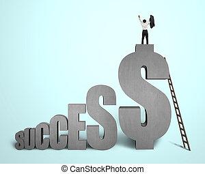 """地位, cheered, 単語, 上, コンクリート, 緑の背景, ビジネスマン, """"success"""", 3d"""