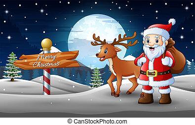 地位, claus, 鹿, 雪, 贈り物, 袋, santa, 漫画