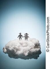 地位, cloud., 白, 2人の子供たち