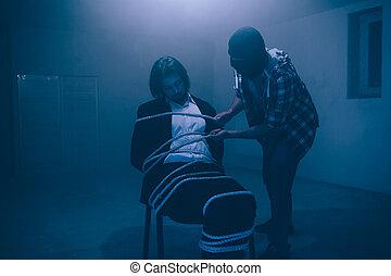 地位, consciousness., that., ワイシャツ, 映像, ほとんど, マスク, completely., 結ばれた, ビーズ, 終えられた, なしで, tied., ビジネスマン, 終わり, 椅子, 座る, 人, 人