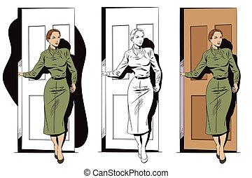 地位, doorway., 女の子