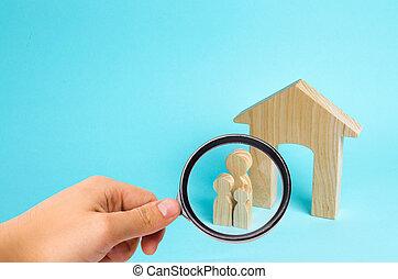 地位, housing., 概念, 家族, 購入, 木製である, 継続, 家族, house., 若い, 拡大する, 見る ガラス, family., 強い, ローン, 子供