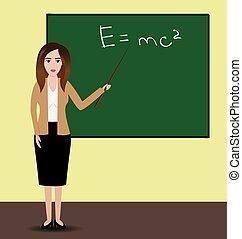地位, illustration., ショー, ポインター, 大学, 教師, 前部, ベクトル, 女性, chalkboard., 使うこと, formula., 教授