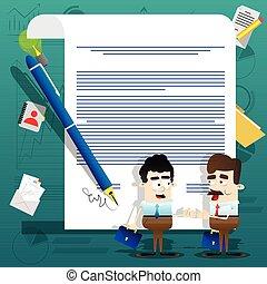 地位, illustration., ビジネス 人々, concept., 合意, 署名される, ベクトル, contract., 前部