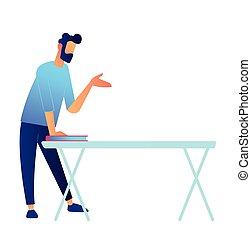 地位, illustration., 手, マネージャー, ベクトル, テーブル, 話すこと
