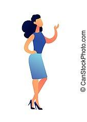 地位, illustration., 提示, ベクトル, 何か, 女性の教師