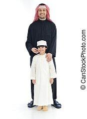 地位, muslim, 父, 一緒に, 息子, アラビア