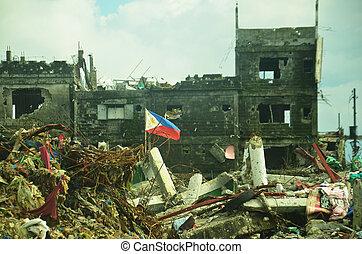 地位, philippine, 後で, 瓦礫, 旗, 戦い