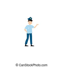 地位, raster, pose., 警官, 隔離された, イラスト, 背景, 白