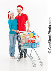 地位, shopping., 買い物, 恋人, 隔離された, カート, 若い, 朗らかである, 間, 微笑, 白