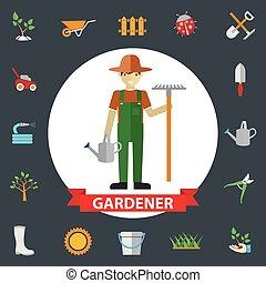 地位, tools., activities., 庭, アイコン, 環境, セット, 庭師, 園芸, ∥(彼・それ)ら∥, 人