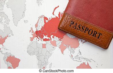 地図の背景, パスポート, 世界