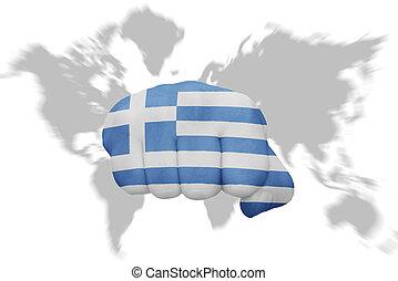 地図の背景, 国旗, 握りこぶし, ギリシャ, 世界