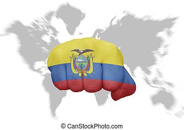 地図の背景, 国旗, 握りこぶし, 世界, エクアドル