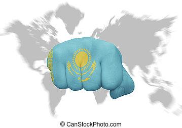 地図の背景, 国旗, 握りこぶし, 世界, カザフスタン