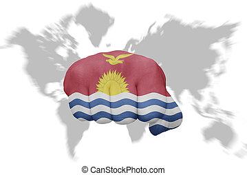 地図の背景, 国旗, 握りこぶし, kiribati, 世界