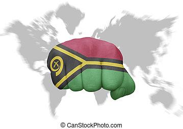 地図の背景, 国旗, 握りこぶし, vanuatu, 世界