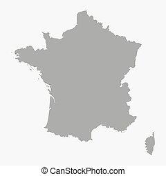 地図の背景, 灰色, 白, フランス
