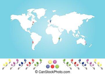 地図を例証した, すべて, 大陸, 世界