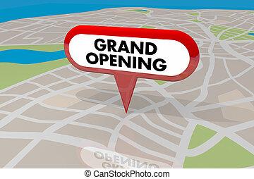 地図ピン, ベールを取ること, 開始, イラスト, 印, ビジネス, 壮大, 新しい, 店, 3d