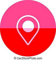 地図ピン, -, 位置, 円, アイコン