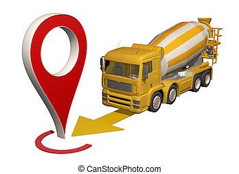 地図ピン, 行く, ミキサー, トラック, コンクリート