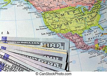 地図帳, お金, 古い