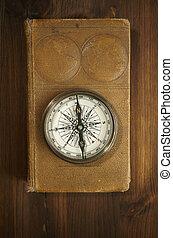 地図帳, 古い, コンパス