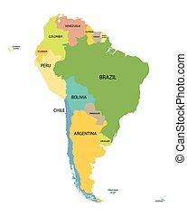 地図, すべて, カラフルである, 国, 名前, アメリカ, 南