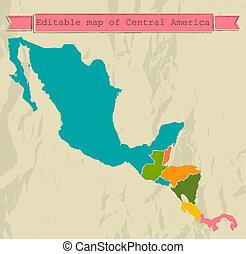 地図, すべて, 中央である, editable, countries., アメリカ